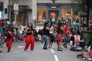 Helper dancing in central