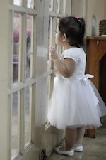 Child looking outside